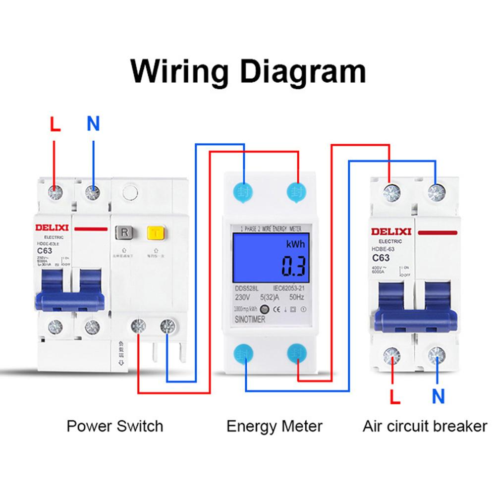 5 32a 230v50hz Digital Rail Single Phase Wattmeter Power Electronic 100v 1 Wiring Diagram Pictures