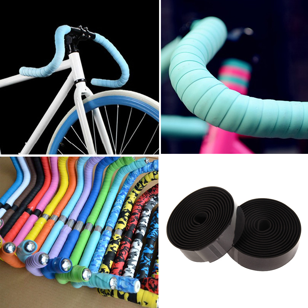2PCS Sports Cycling Road Bike Cork Handlebar Grip Tape Wrap 2 Bar Plug
