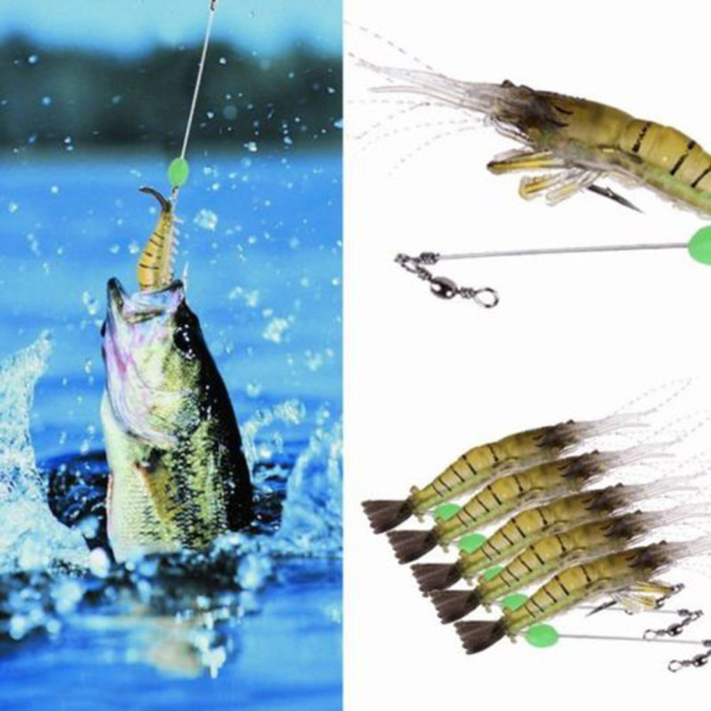 Details about 5pcs Shrimp Fishing Lures Simulation Noctilucent Soft Prawn  Lures Bass Hook Bait