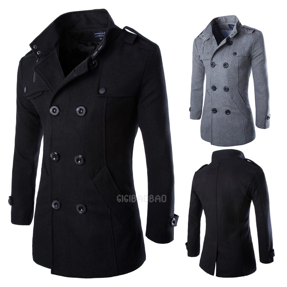 Wool Coat Men's Double Breasted Peacoat Long Men Jacket ...