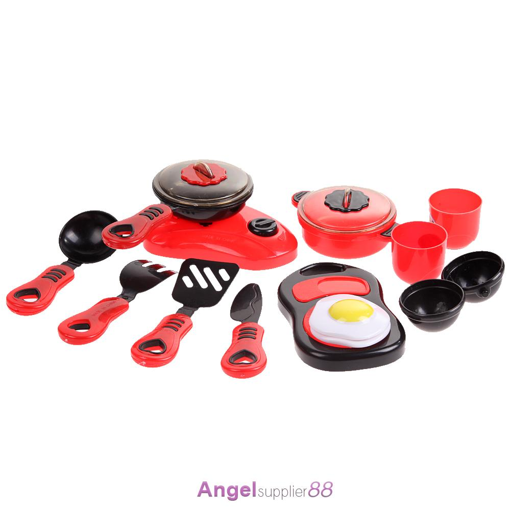 Toy Food And Dishes : Red pcs set kitchen utensils pots cooking pans food