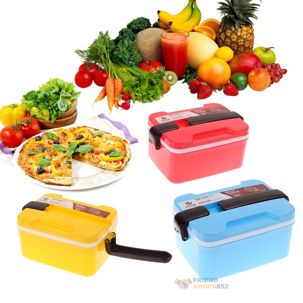 2 layer microwave handle bento lunch box picnic food. Black Bedroom Furniture Sets. Home Design Ideas