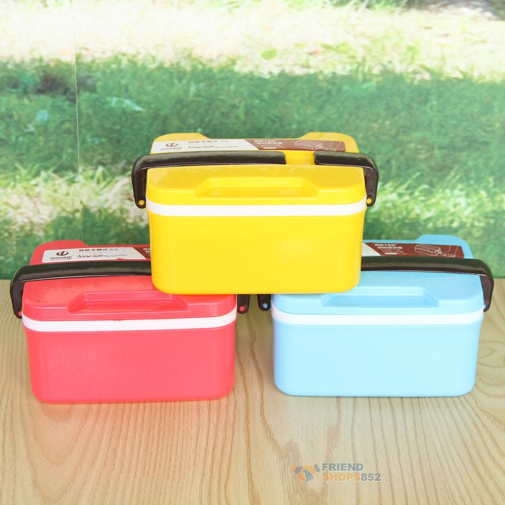 2 layer microwave handle bento lunch box picnic food container spoon storage ebay. Black Bedroom Furniture Sets. Home Design Ideas