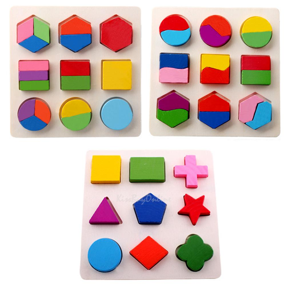 Kids Baby Learning Educational Toy Wooden Geometry Block Puzzle Montessori Early