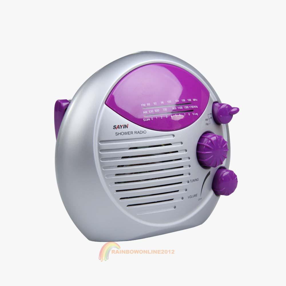Purple Silver Am Fm Shower Radio Bathroom Waterproof