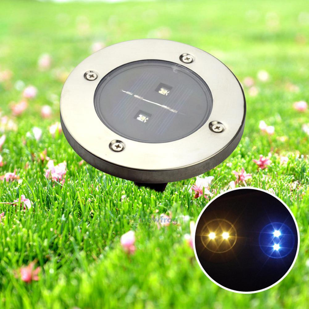 Outdoor Patio Ground Lights: Solar Powered 2 LED Buried Inground Recessed Light Garden