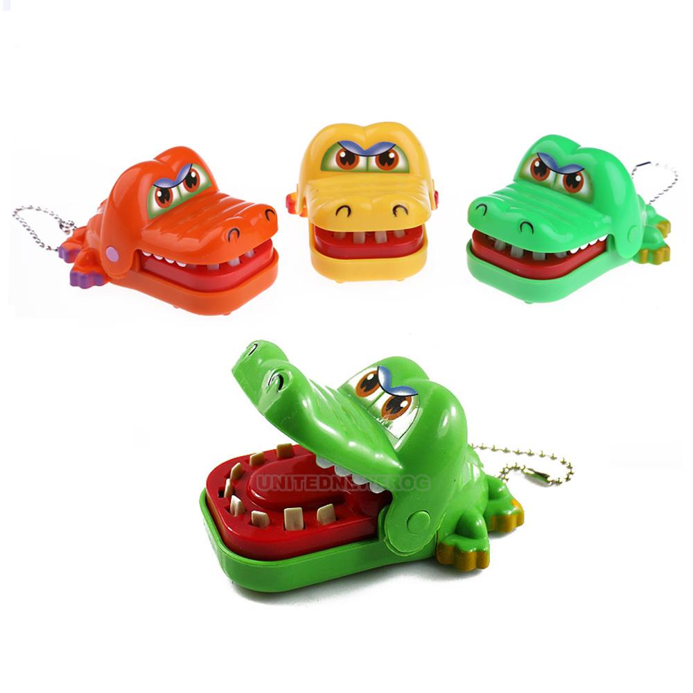 Cute Large Crocodile Dentist Mouth Bite Finger Game Funny Kids Toy With Keychain