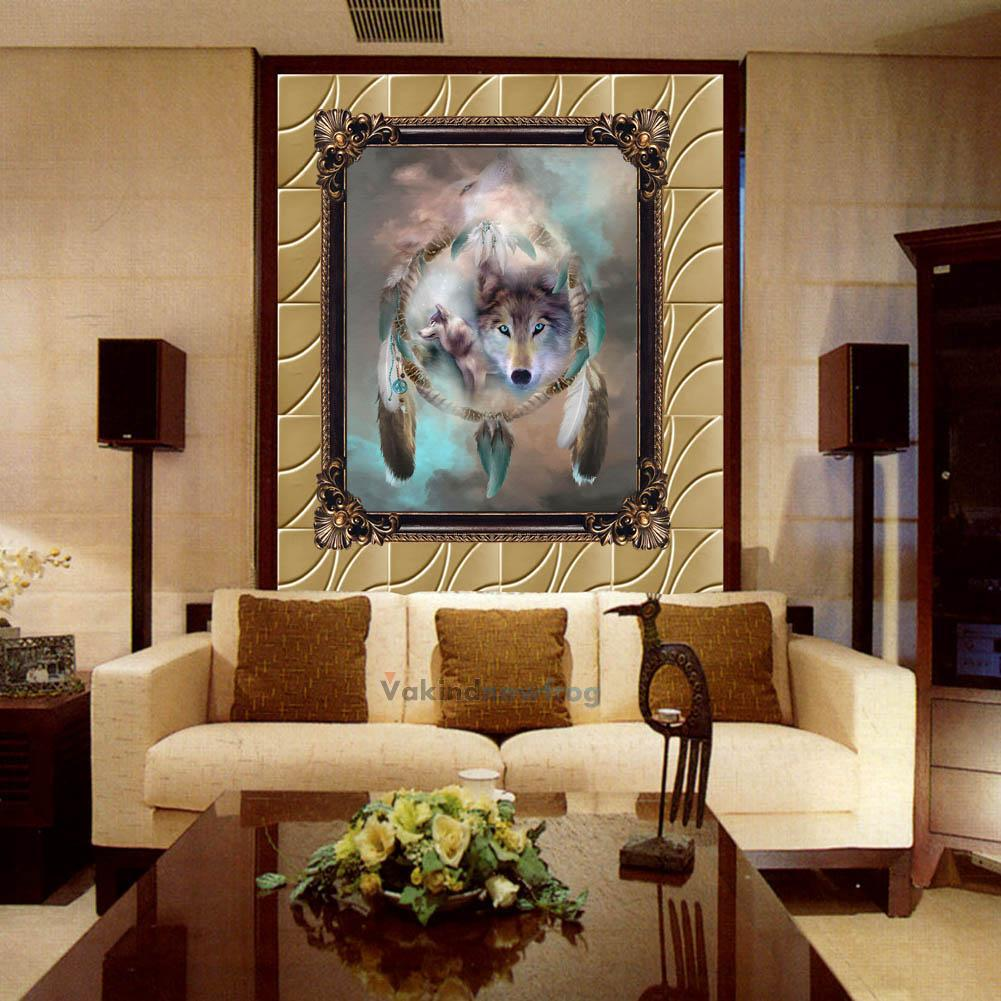 Home Decoration: DIY 5D Diamond Painting Wolf Totem Embroidery Cross Crafts