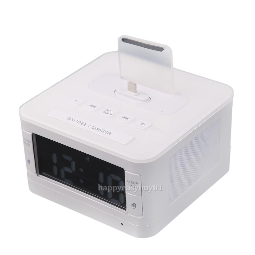 bluetooth speaker docking station alarm clock fm radio dock for iphone ipod home ebay. Black Bedroom Furniture Sets. Home Design Ideas