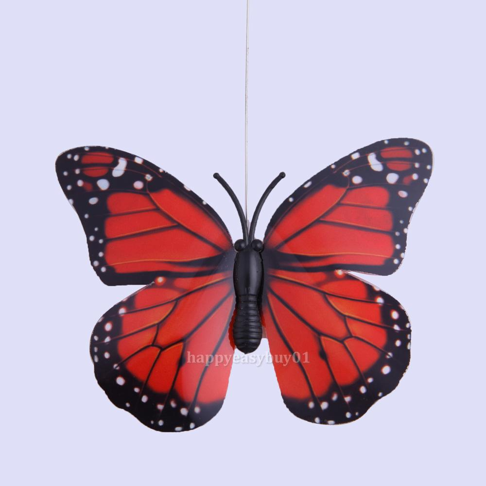 Outdoor butterfly garden solar power flying fluttering for Outdoor butterfly decor