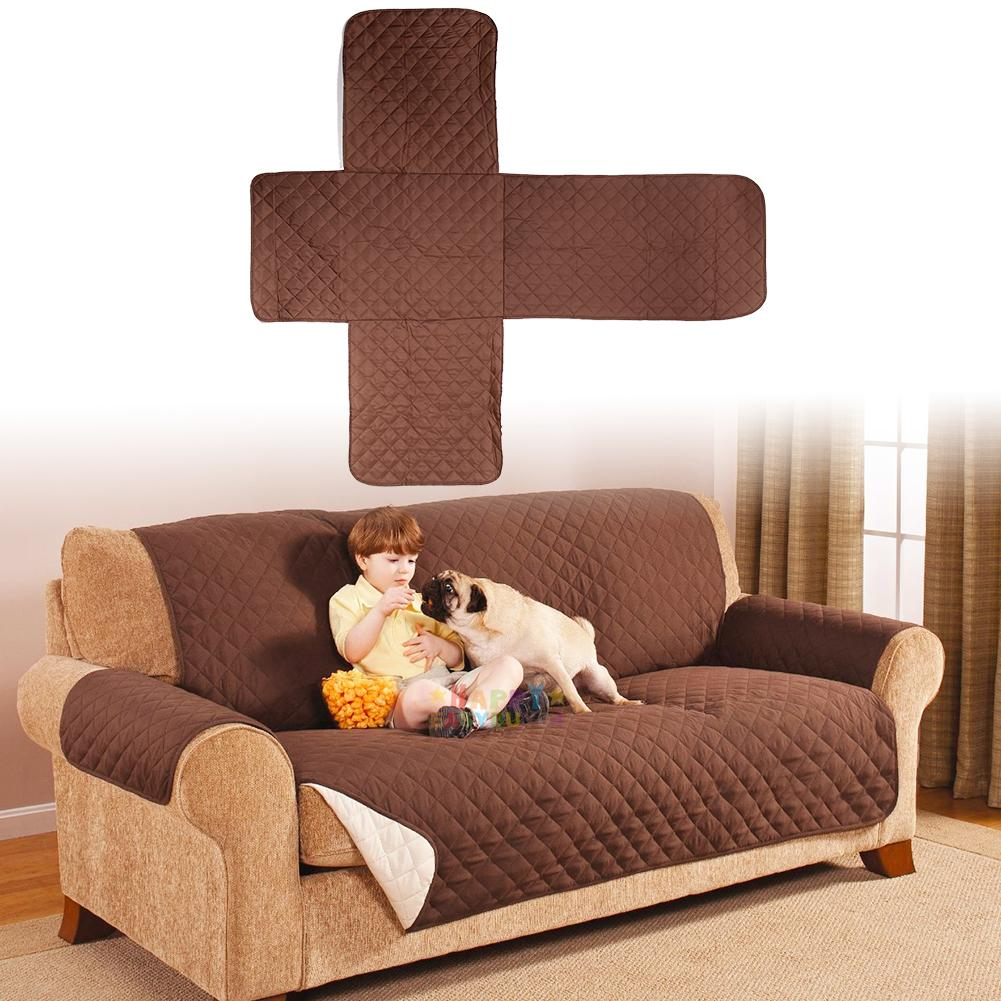 Cotton quilted waterproof 2 seater sofa cover pet dog kids for Two dogs furniture covers