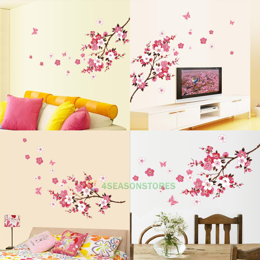 Pvc sakura flower cherry blossom tree wall decals stickers for Cherry blossom tree mural
