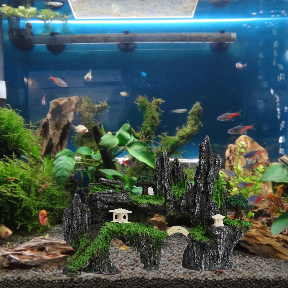 Mountain view aquarium tree rock cave bridge fish tank for Aquarium bridge decoration