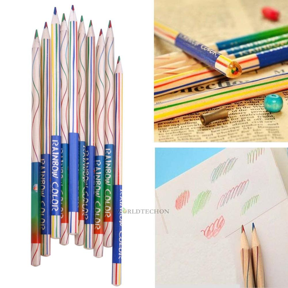10pcs rainbow couleur crayon 4 en 1 couleur dessin peinture bois crayons art pen ebay. Black Bedroom Furniture Sets. Home Design Ideas