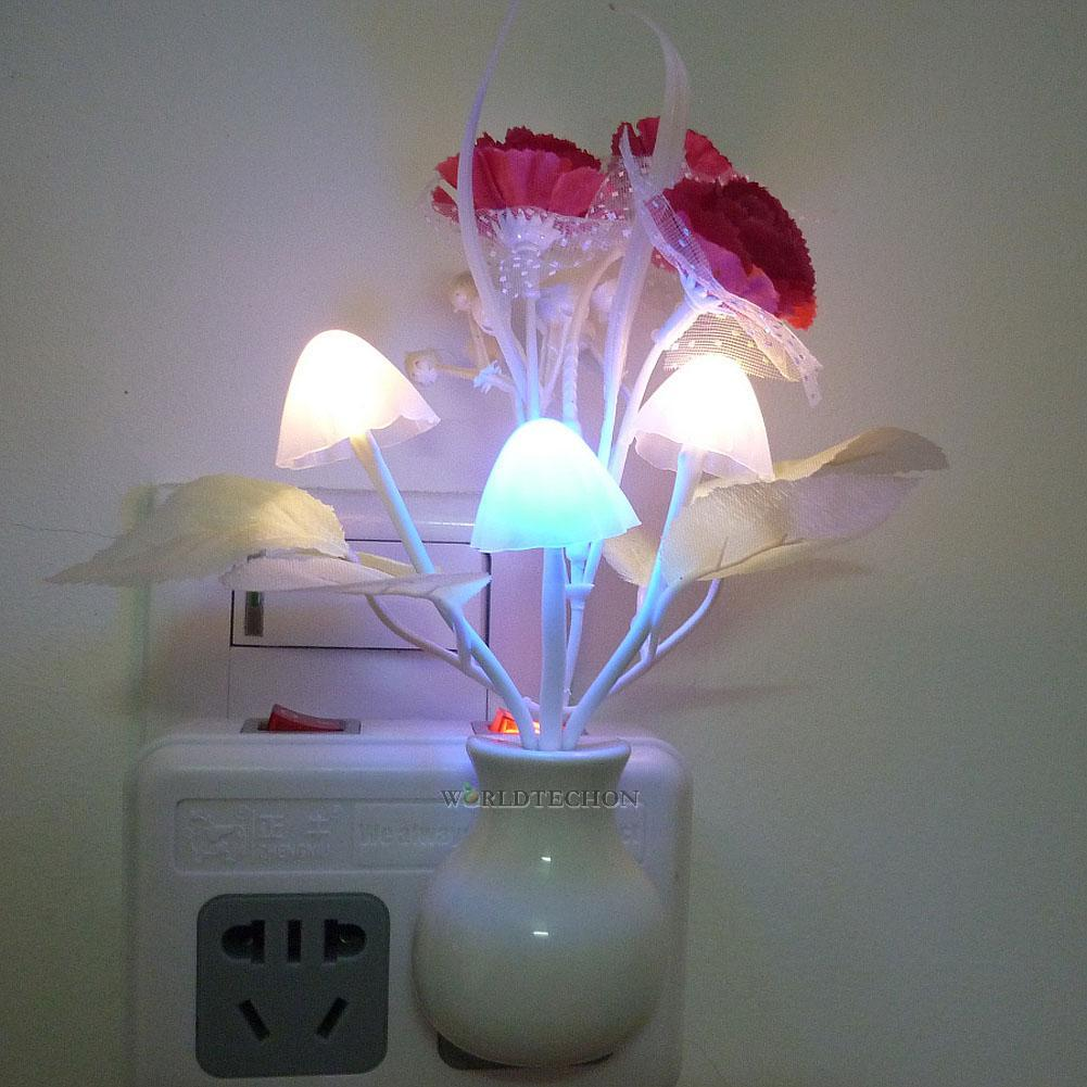 Romantic Floral Colorful Sensor Led Mushroom Night Light