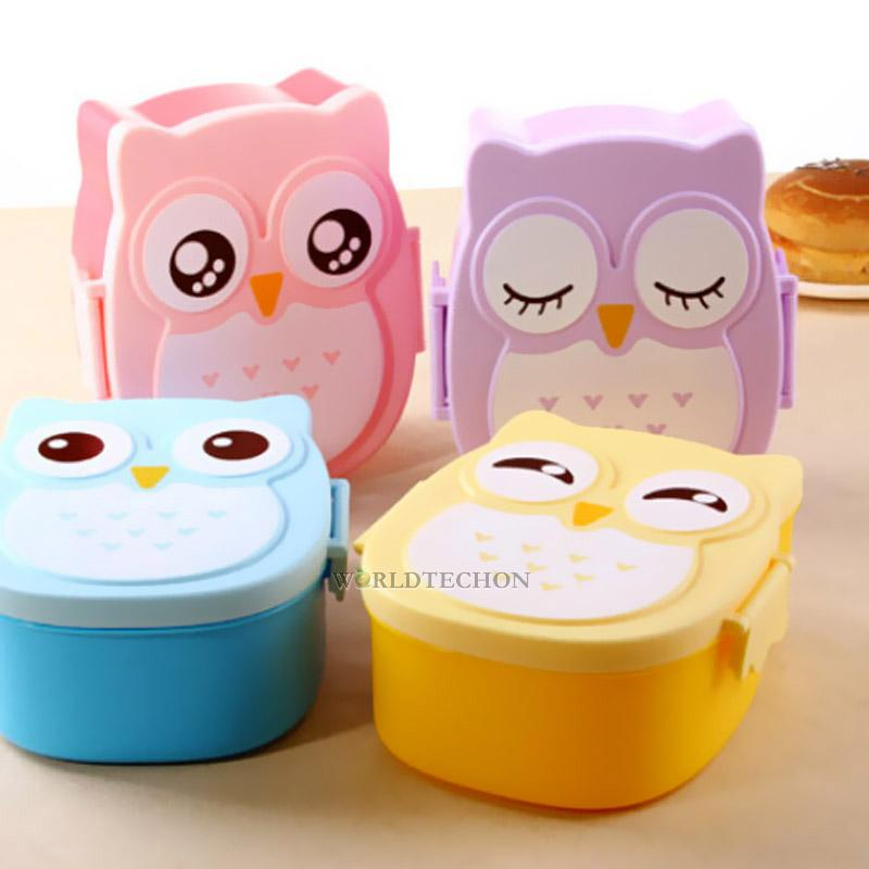 plastic portable lunch box cute cartoon owl lunch box food contain bento box. Black Bedroom Furniture Sets. Home Design Ideas