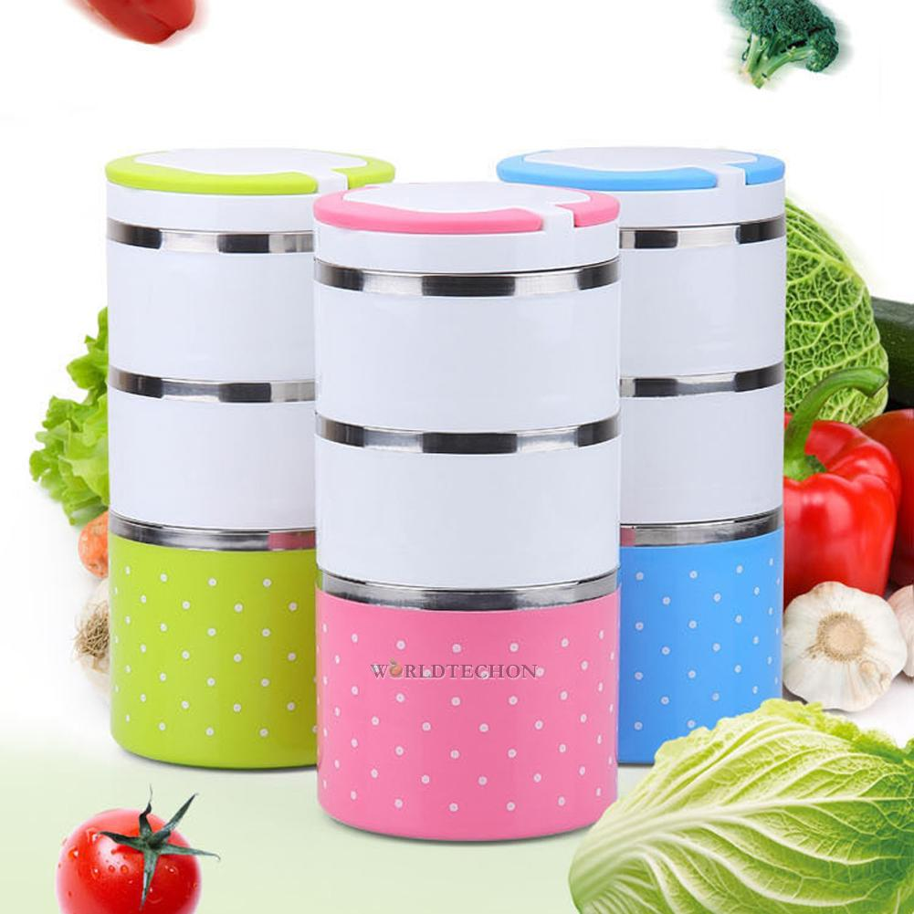 2 3 layer cute stainless steel lunch box insulation bento food picnic container. Black Bedroom Furniture Sets. Home Design Ideas