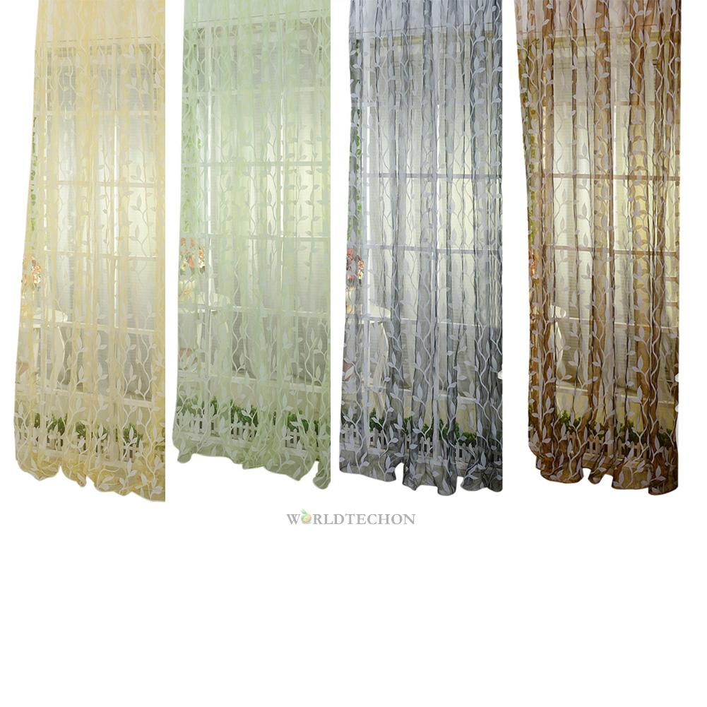 Leaf floral voile door window curtain drape panel sheer for Balcony curtains