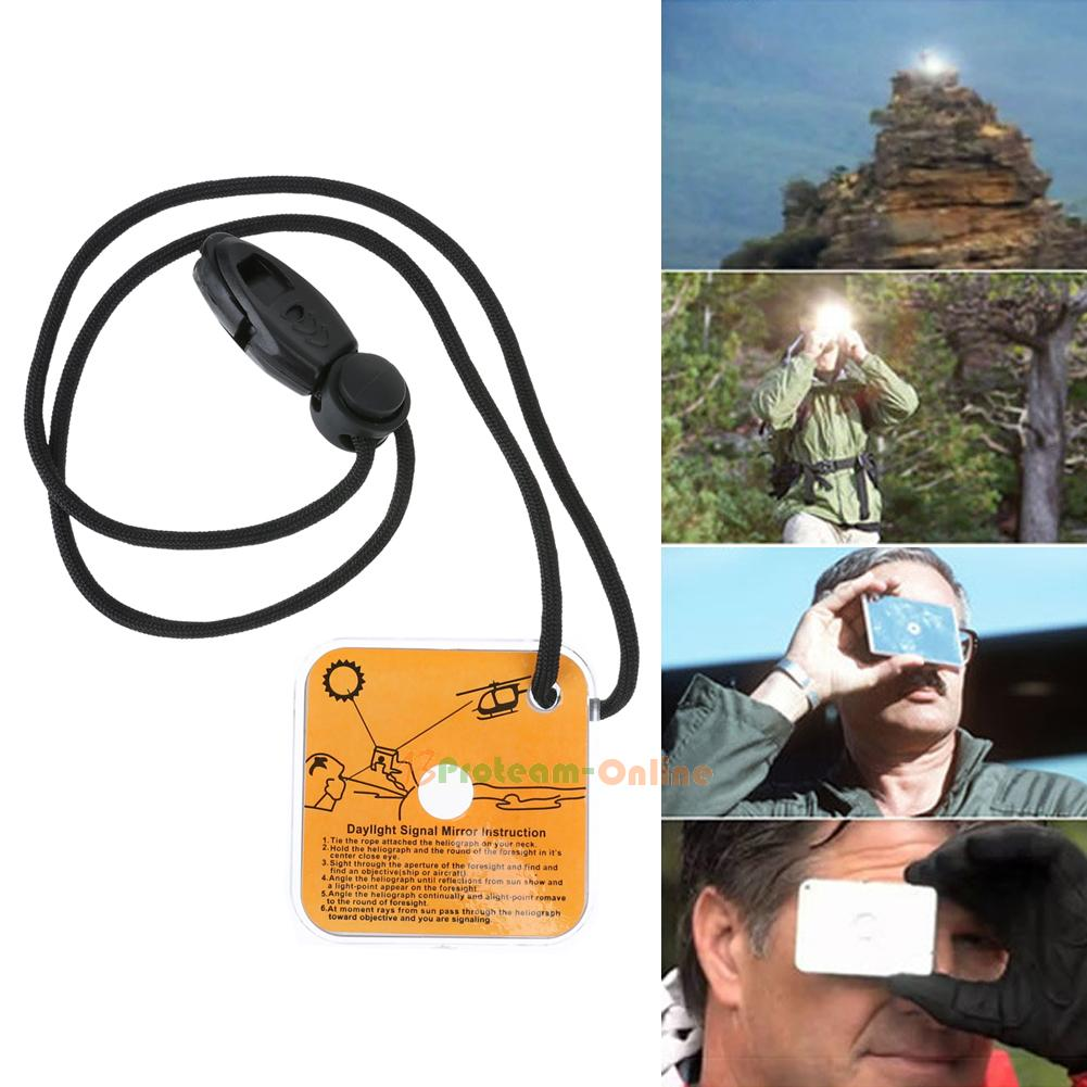 Practical Outdoor Emergency Equipment Survival Signal Mirror Tool with Whistle