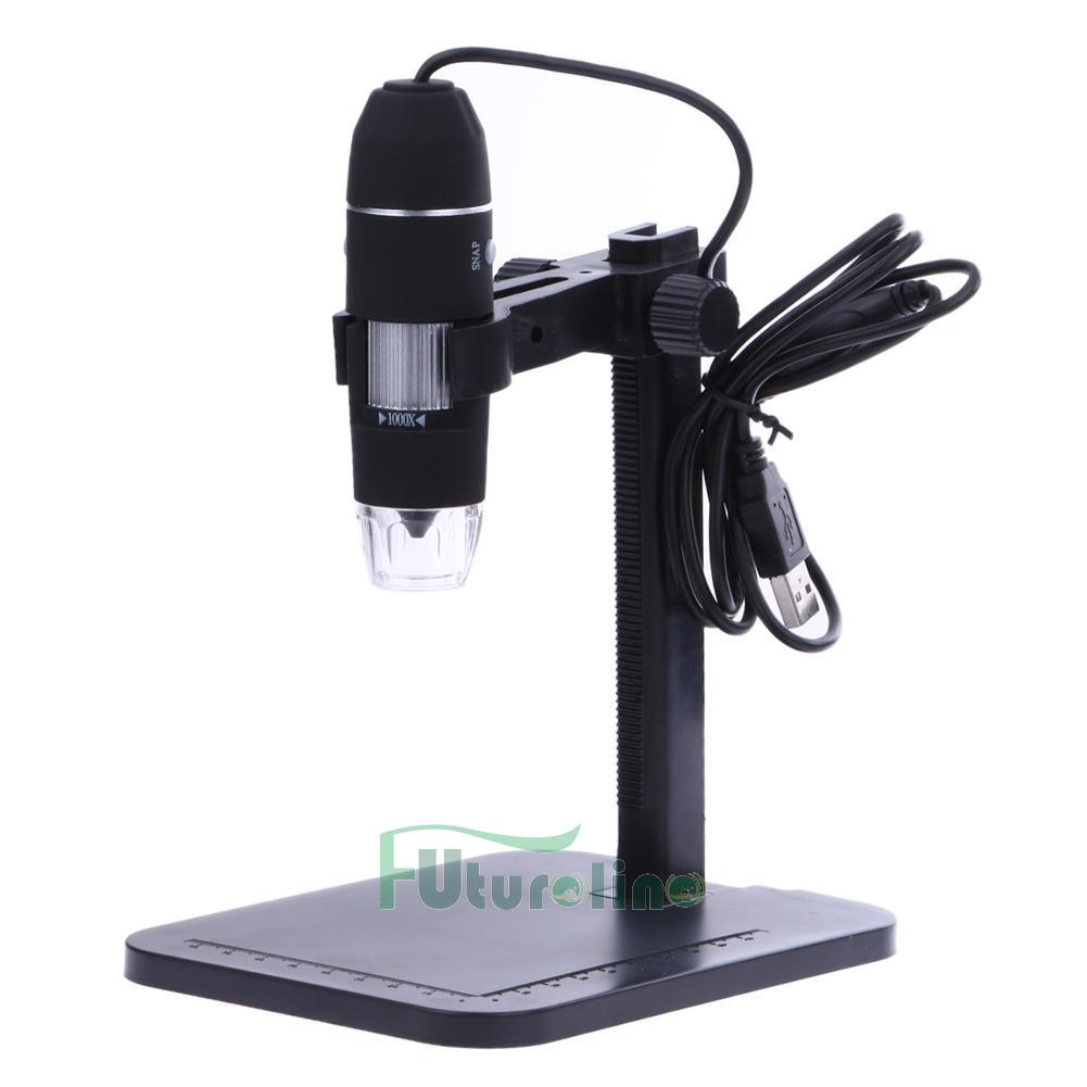 101921-30 USB Digital Microscopio Endoscopio 1000X 8 LED Lupa Cámara + Soporte Levante ES