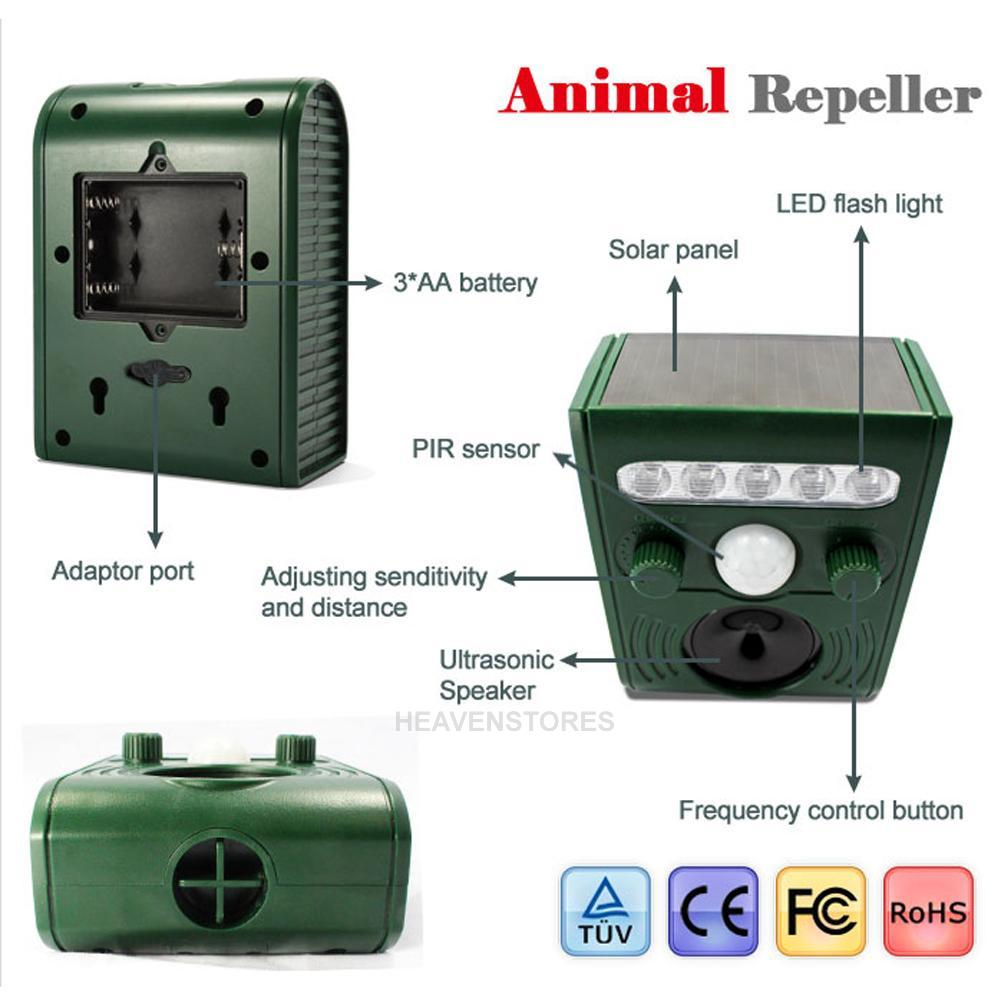 Ultrasonic Solar Powered Cat Repeller Animal Chaser