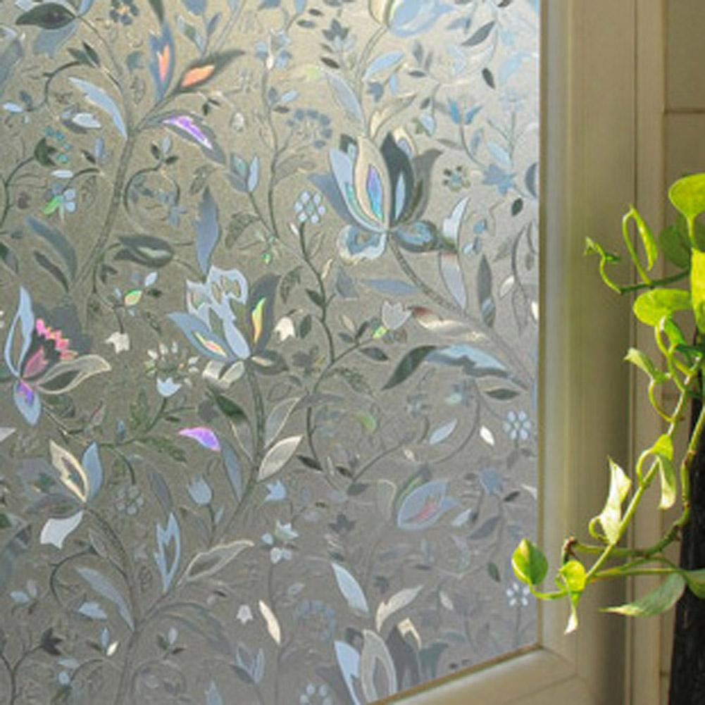 Cling etched glass window decal for - 45x100cm Frosted Glass Window Sticker Film Privacy Flower Static Adhesive Cover Ebay
